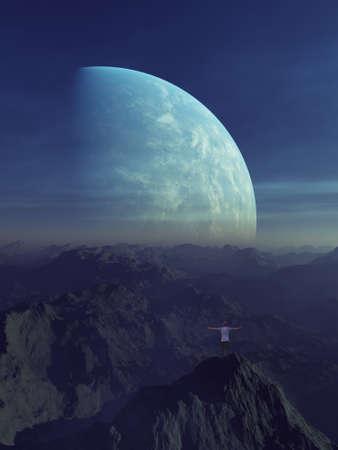 3d rendered Space Art: Alien Planet - A Fantasy Landscape with planet and blue skies Banco de Imagens