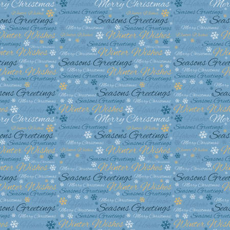 Seamless pattern of handwritten modern brush calligraphy Merry Christmas for wrapper Christmas gifts isolated on bright blue background. 免版税图像