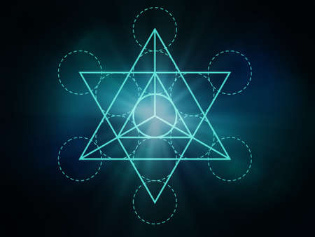 Sacred geometry web banner: Metatron's Cube. Math, nature, and spirituality in nature. Foto de archivo