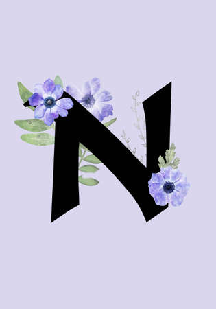 Floral monogram (letter) - decorated with blue anemone flowers and watercolor leaves