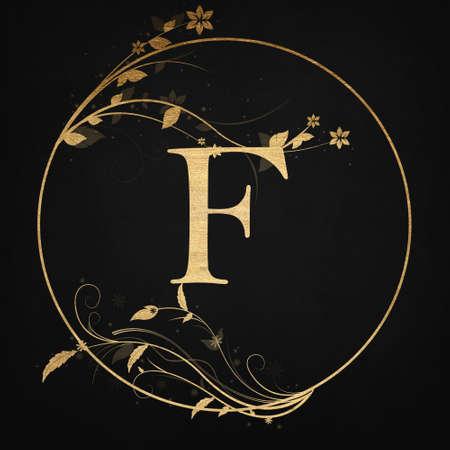 Luxury Boutique Letter F Monogram Logo, Vintage Golden Badge With Elegant Floral Design