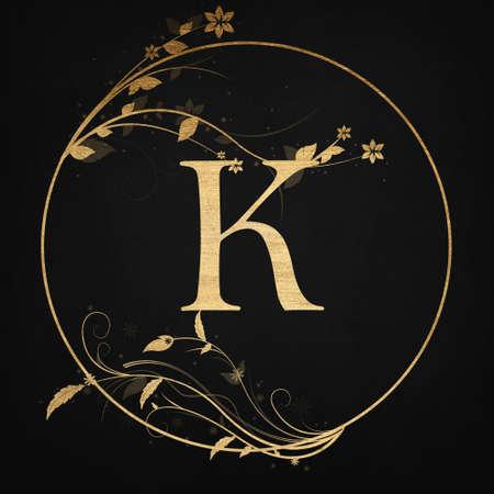 Luxury Boutique Letter K Monogram Logo, Vintage Golden Badge With Elegant Floral Design