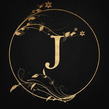 Luxury Boutique Letter J Monogram , Vintage Golden Badge With Elegant Floral Design