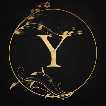 Luxury Boutique Letter Y Monogram Logo, Vintage Golden Badge With Elegant Floral Design