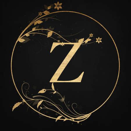 Luxury Boutique Letter Z Monogram , Vintage Golden Badge With Elegant Floral Design