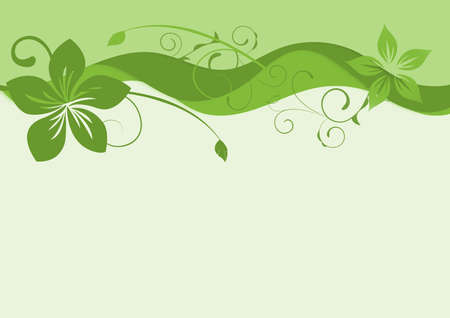Elegant green background with swirls and little leaves and space for your text. Spring illustration.
