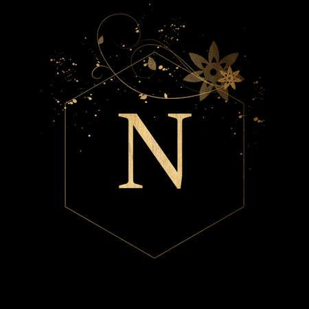 Luxury Boutique Letter N Monogram, Vintage Golden Letter With Elegant Floral Design Zdjęcie Seryjne