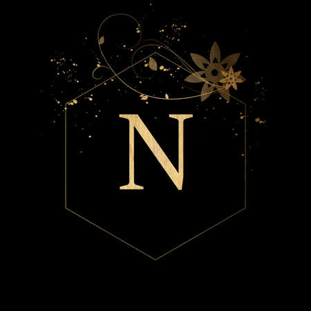 Luxury Boutique Letter N Monogram, Vintage Golden Letter With Elegant Floral Design Stock fotó