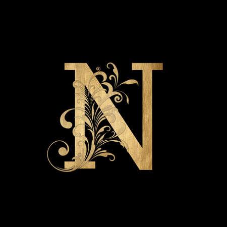 Luxury Boutique Letter N Monogram , Vintage Golden Letter With Elegant Floral Design