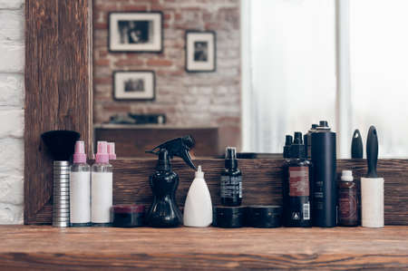 workplace of the hairdresser. the mirror in the barbershop with consumables