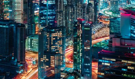 fantastic view: Fantastic view of a big modern city by night. Dubai, United Arab Emirates. Nighttime skyline.