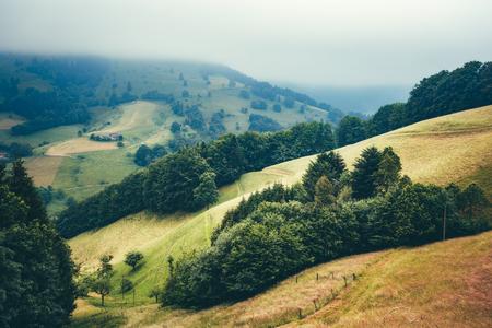 絵のような村の家で夢のような山の風景は霧に覆われています。ドイツ、Muenstertal、黒い森。背景を旅行します。 写真素材