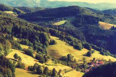 風光明媚なパノラマ風景: 森林、分野、ドイツの古い教会の夏の山の谷。ウルリッヒ、黒い森。ヴィンテージの効果。