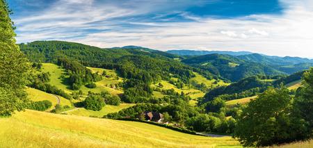 風光明媚なパノラマ風景: 夏の森の森林とドイツ、シュヴァルツヴァルトのフィールド 写真素材