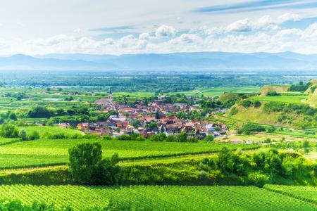 夏の日にドイツでございますマウンテン バレーのブドウ農園。古い歴史的な村と美しい雲と風光明媚な田園風景。背景を旅行します。