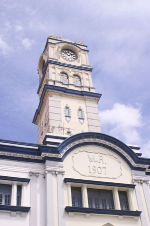 georgetown: The clock tower of the old customs building in historic Georgetown in Penang Stock Photo