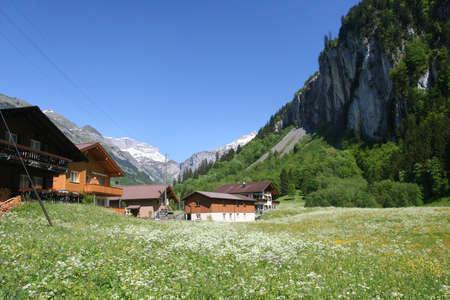 farme: Mountain Rural View Stock Photo