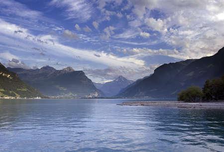 schweiz: The sunny Lake scene Stock Photo