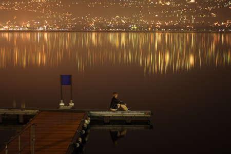 Meditations at midnight on lake Stock Photo - 508237