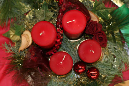 decoration with red candles photo