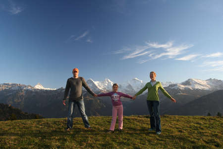 boldness: happy family in mountains