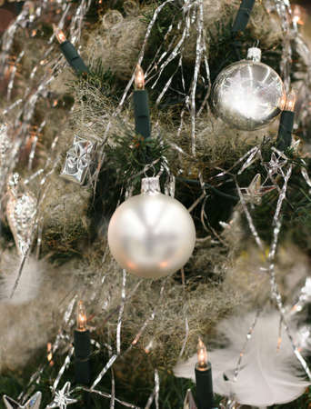 seeting: Silver tree decoration Stock Photo