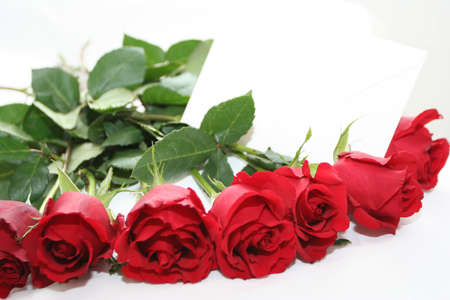 red roses bouquet with note Stock Photo - 697344