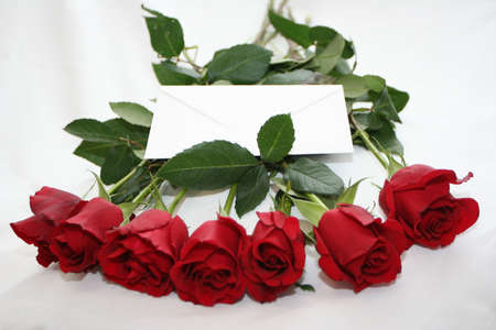 red roses bouquet with note Stock Photo - 697345