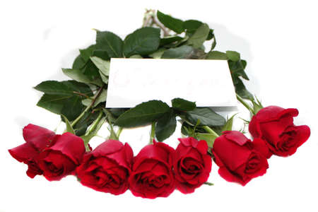 red roses bouquet with note Stock Photo - 697327