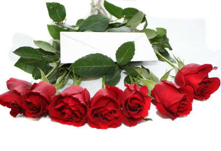 red roses bouquet with note Stock Photo - 697322