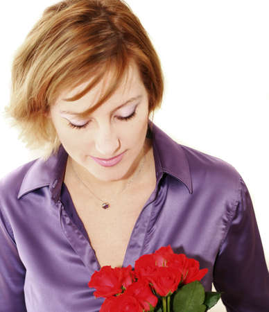 Woman with roses over white photo