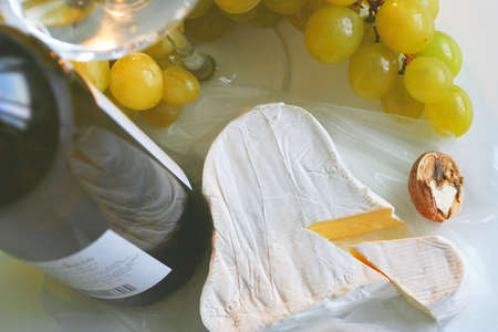 Gold grapes, wine and cheese Stock Photo - 745355