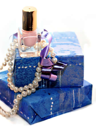 Blue gift in close up photo
