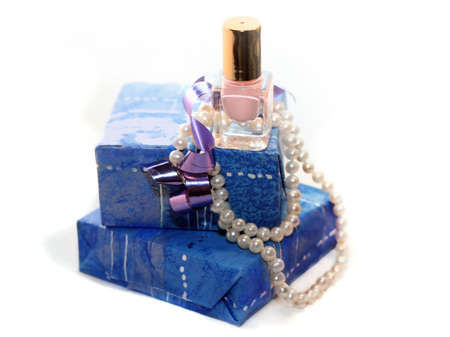 Woman gift in blue photo