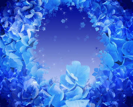 snowy background: Blue floral cubierto de nieve de fondo