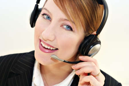 Smiling woman in communication photo