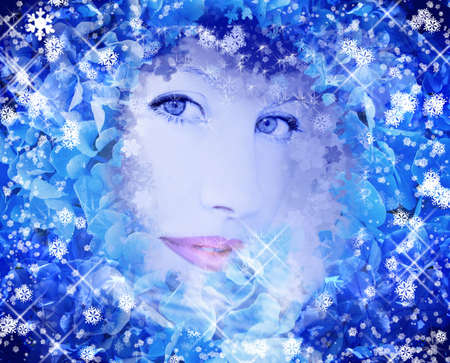 Blue snow queen background Stock Photo