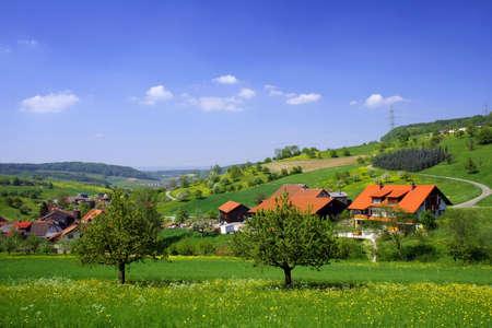 feld: Spring Swiss farmland Stock Photo