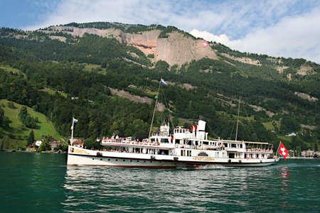 Boat on Swiss Lake photo