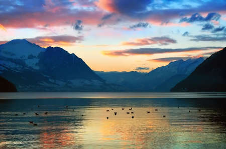 Swiss lake at the evening in sunset color