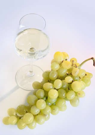 White wine glass with grapes Stock Photo - 1478613