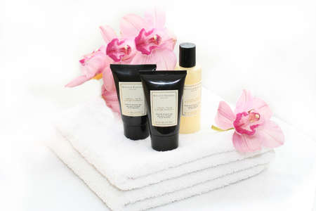 SPA accessories with orchids Stock Photo