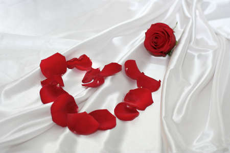 Red roses over silk