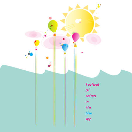 Vector Illustration Festival Hot Air Balloon with Typography T-shirt Graphic Fashion Design Standard-Bild - 133201541