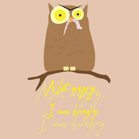 Vector Illustration with Typography T-shirt Graphic Fashion Design Angry Owl