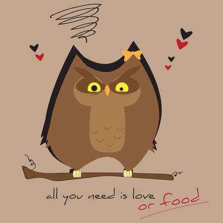 Illustration vectorielle Lover Owl T-shirt Graphic Fashion Design avec typographie Vecteurs