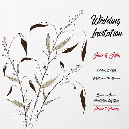Hand Drawn Wedding Invitation Card Template with Floral Leaf japanese Style Illustration