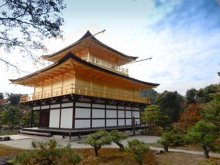 rokuonji: Kinkaku-ji Temple with blue sky