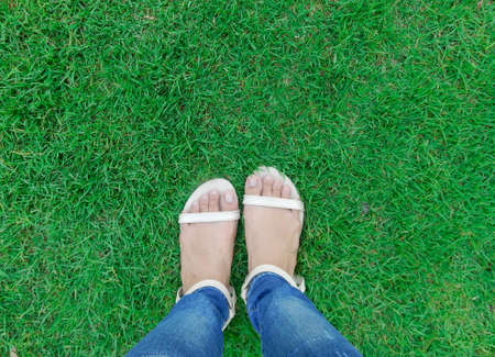 foot wear: Foot wear cream color shoes over green grass