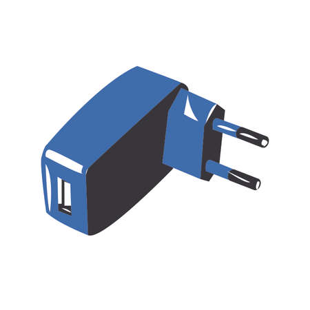 converter: USB charger adapter plug - vector isolated white background